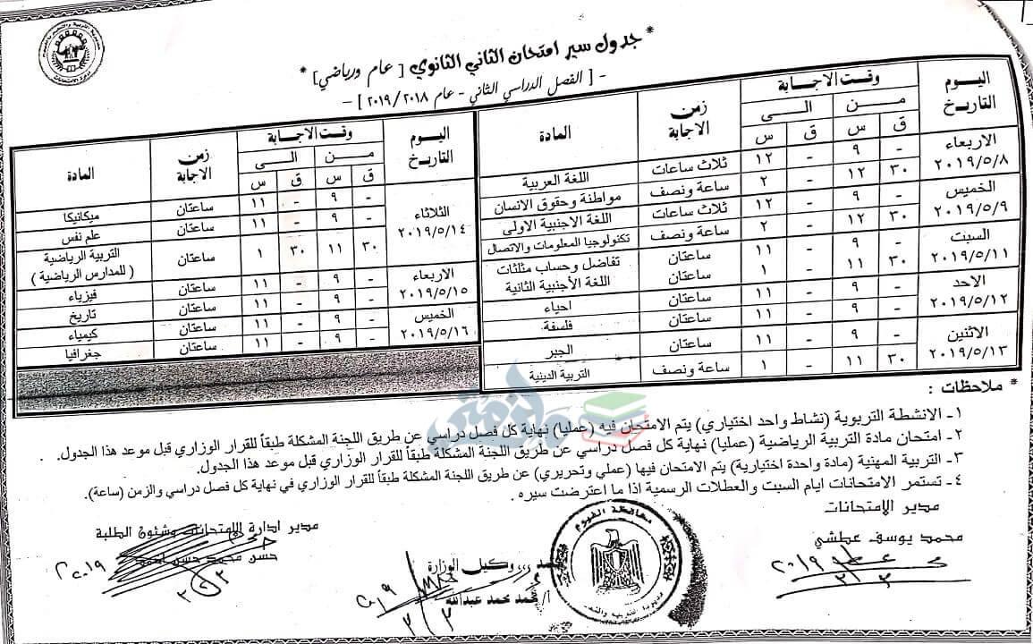 جدول امتحانات الصف الثاني الثانوي الترم الثاني 2019 محافظة الفيوم