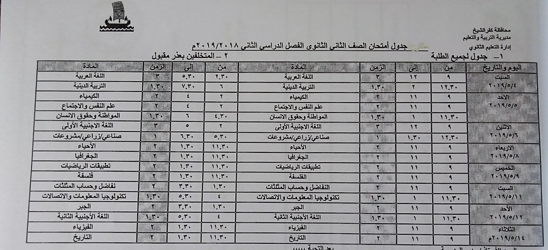 جدول امتحانات الصف الثاني الثانوي الترم الثاني 2019 محافظة كفر الشيخ