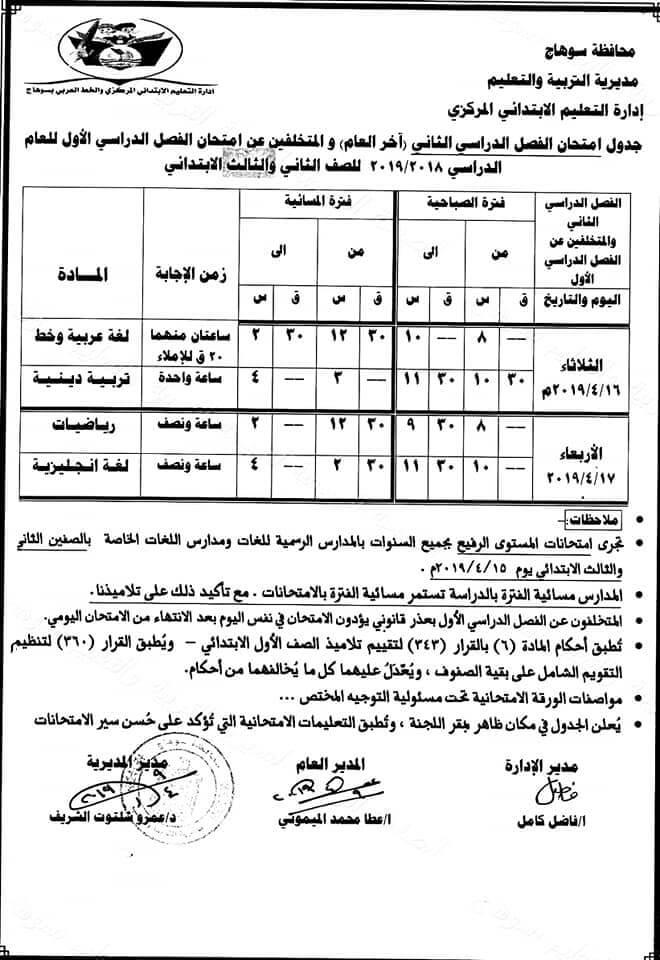 جدول امتحانات الصف الثاني والثالث الابتدائي الترم الثاني 2019 محافظة سوهاج