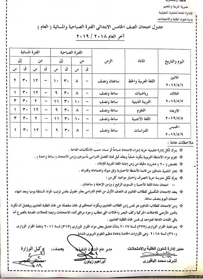 جدول امتحانات الصف الخامس الابتدائي الترم الثاني 2019 محافظة الاسكندرية