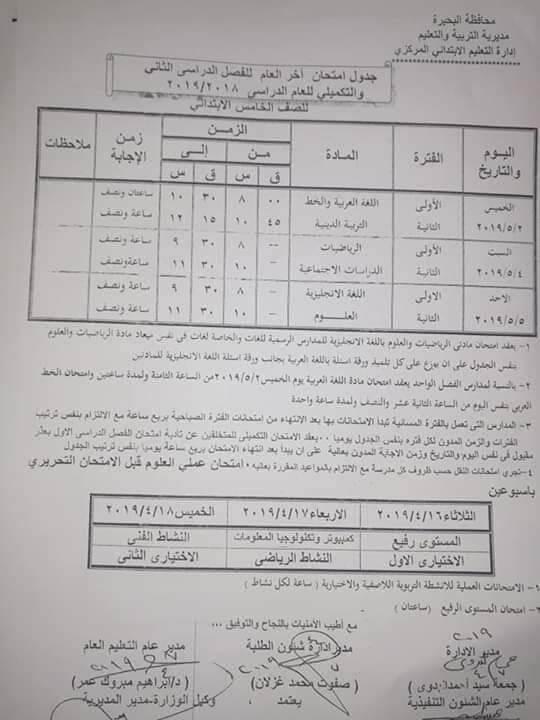 جدول امتحانات الصف الخامس الابتدائي الترم الثاني 2019 محافظة البحيرة