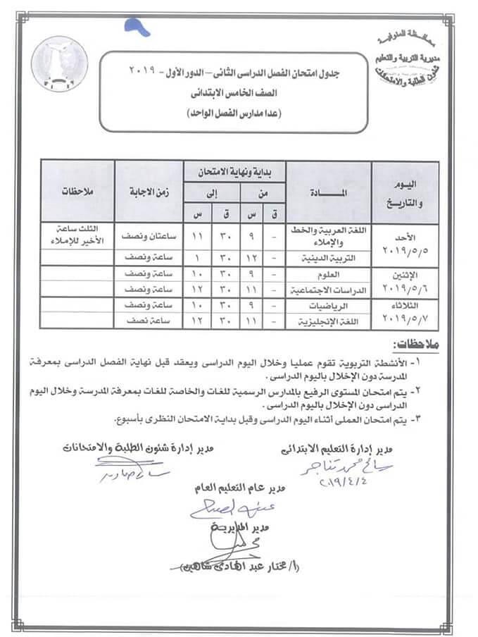 جدول امتحانات الصف الخامس الابتدائي الترم الثاني 2019 محافظة المنوفية