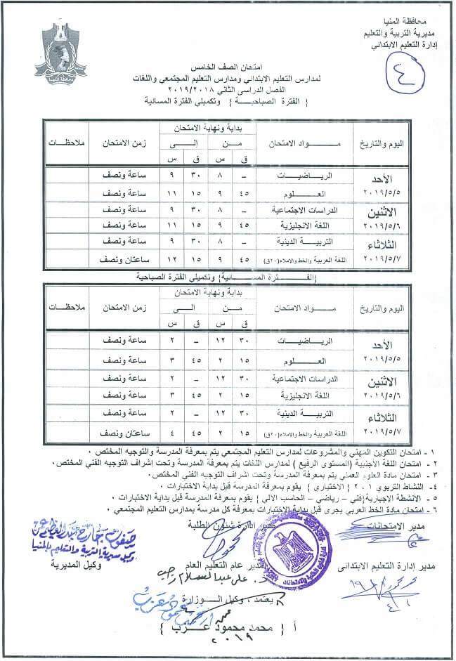 جدول امتحانات الصف الخامس الابتدائي الترم الثاني 2019 محافظة المنيا