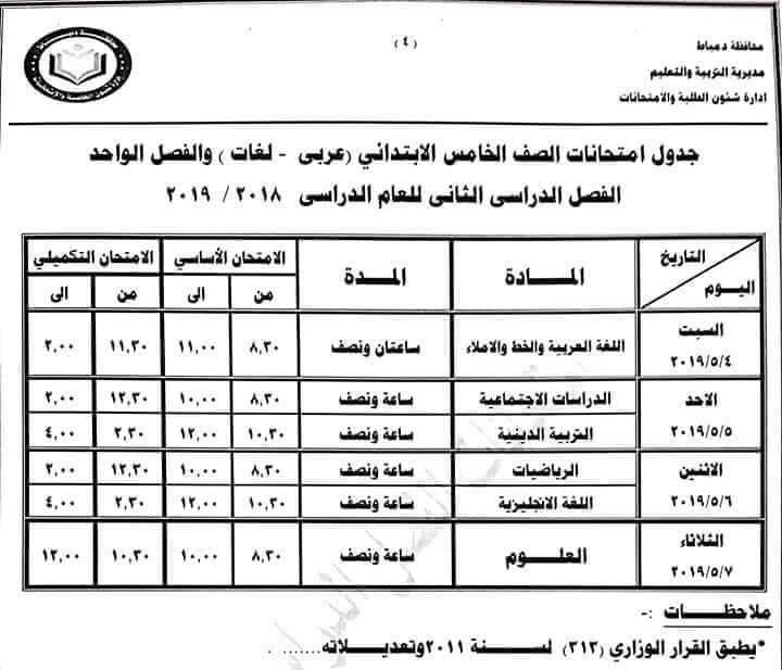 جدول امتحانات الصف الخامس الابتدائي الترم الثاني 2019 محافظة دمياط