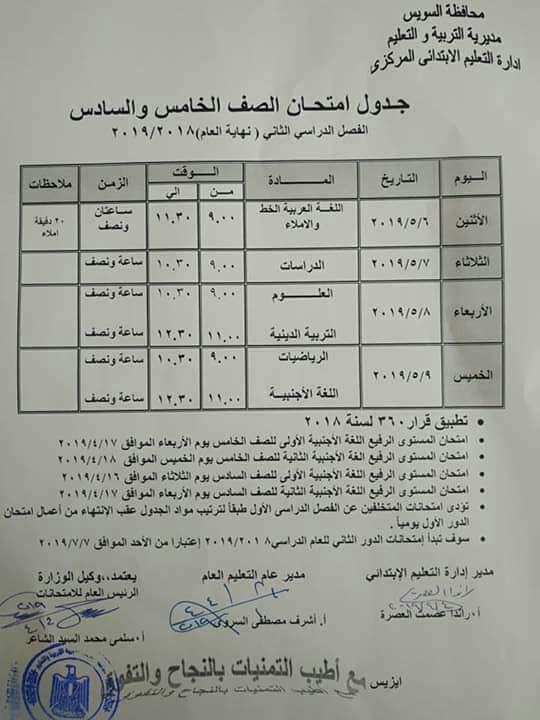 جدول امتحانات الصف الخامس والسادس الابتدائي الترم الثاني 2019 محافظة السويس