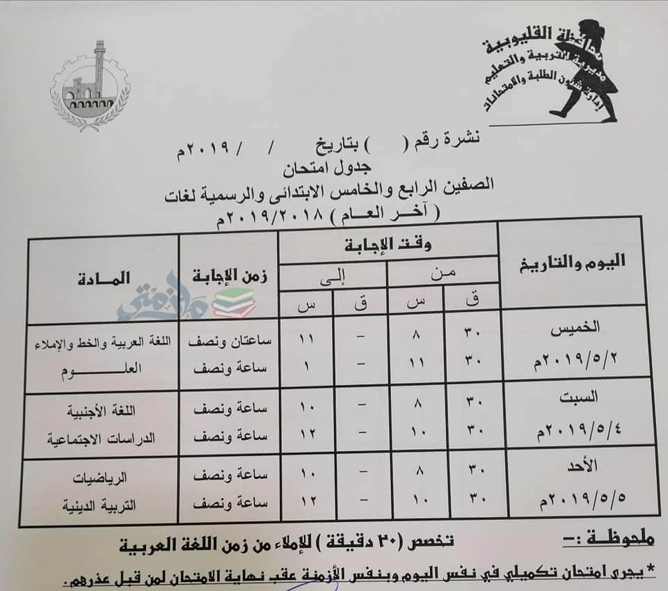 جدول امتحانات الصف الرابع والخامس الابتدائي الترم الثاني 2019 محافظة القليوبية