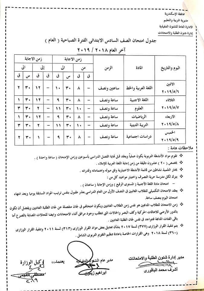 جدول امتحانات الصف السادس الابتدائي الترم الثاني 2019 محافظة الاسكندرية