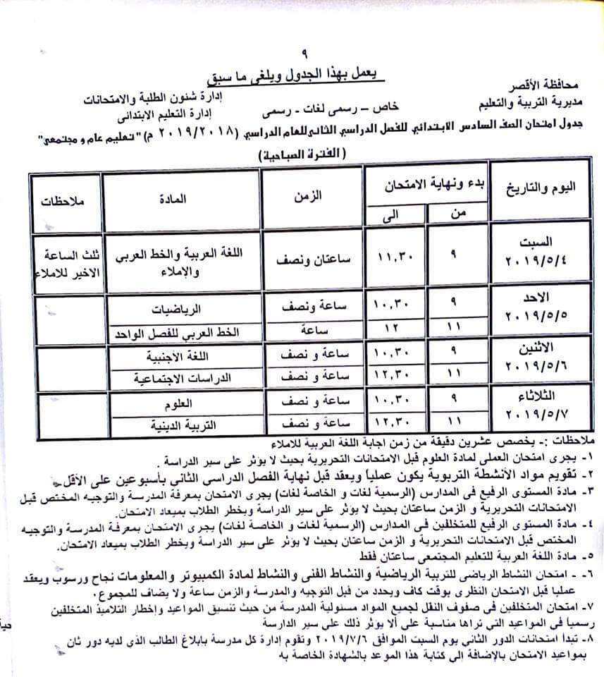 جدول امتحانات الصف السادس الابتدائي الترم الثاني 2019 محافظة الاقصر