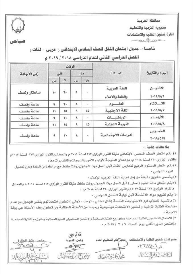جدول امتحانات الصف السادس الابتدائي الترم الثاني 2019 محافظة الغربية