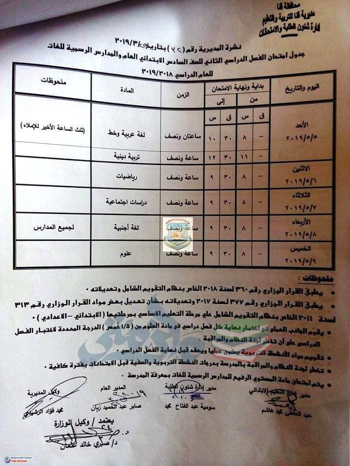 جدول امتحانات الصف السادس الابتدائي الترم الثاني 2019 محافظة قنا