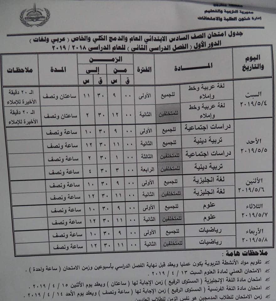 جدول امتحانات الصف السادس الابتدائي الترم الثاني 2019 محافظة مطروح