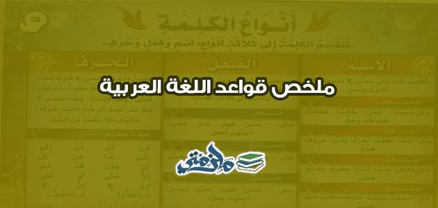 ملخص قواعد اللغة العربية للمبتدئين