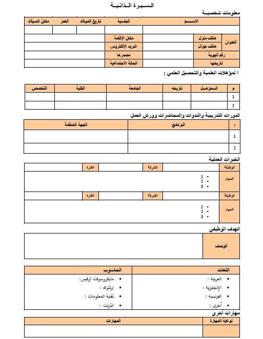 نموذج سيرة ذاتية جاهز للتعبئة pdf