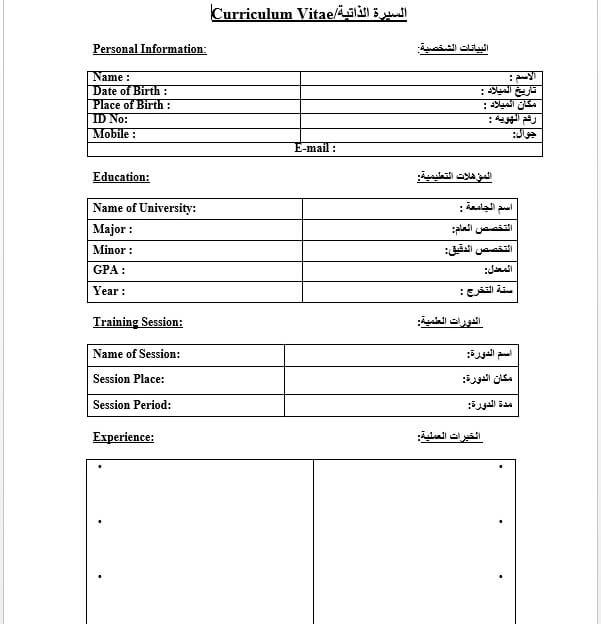 نموذج سيرة ذاتية عربي انجليزي 5