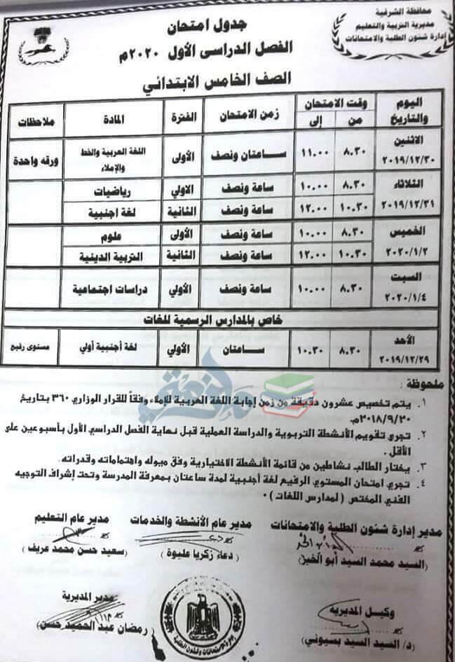 جدول امتحانات الصف الخامس الابتدائي نصف العام محافظة الشرقية