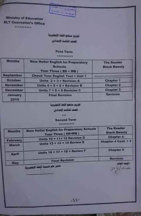 توزيع منهج اللغة الانجليزية للصف الثالث الاعدادي