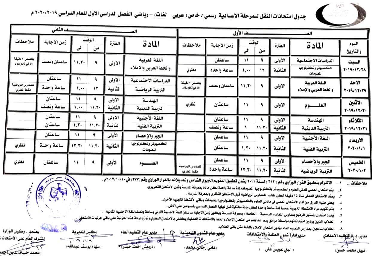 جدول امتحانات الصف الاول والثاني الاعدادي نصف العام 2020 محافظة بني سويف