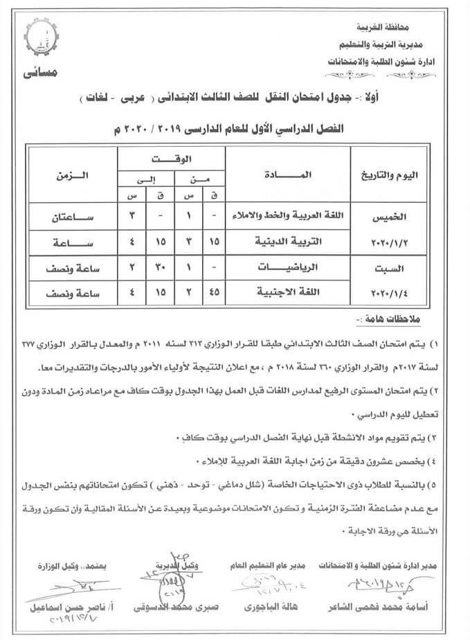 جدول امتحانات الصف الثالث الابتدائي نصف العام محافظة الغربية 2020 2