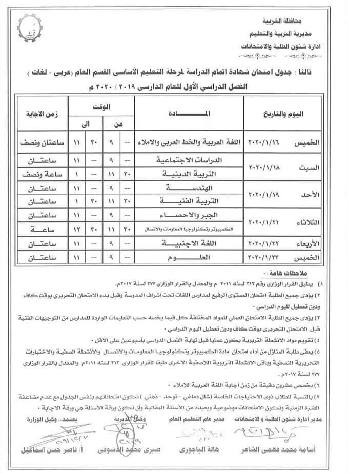 جدول امتحانات الصف الثالث الاعدادي نصف العام محافظة الغربية 2020