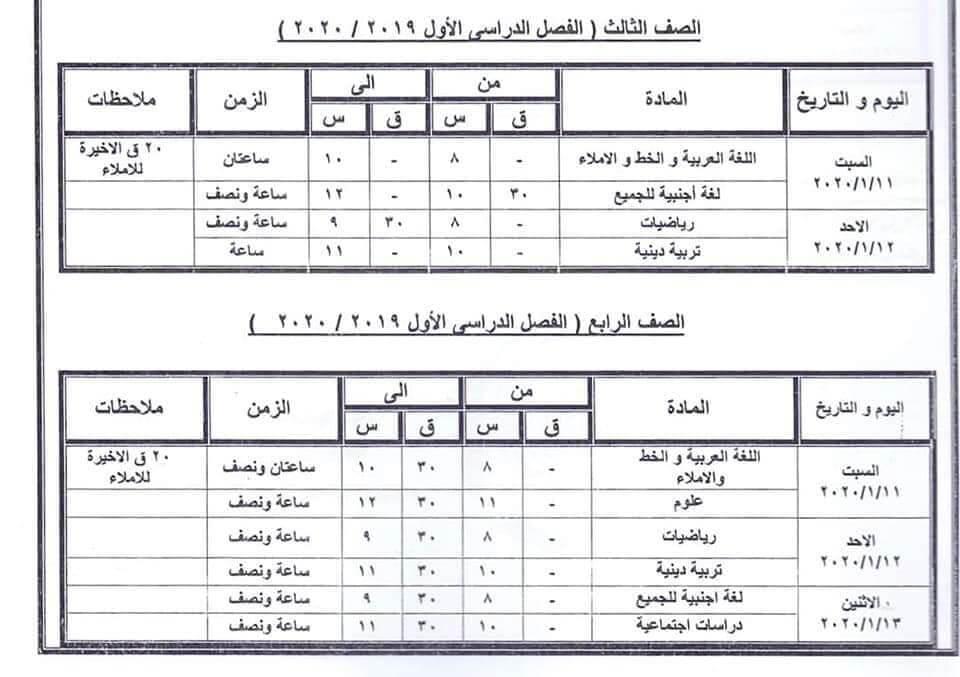 جدول امتحانات الصف الثالث والرابع الابتدائي نصف العام محافظة كفر الشيخ 2020