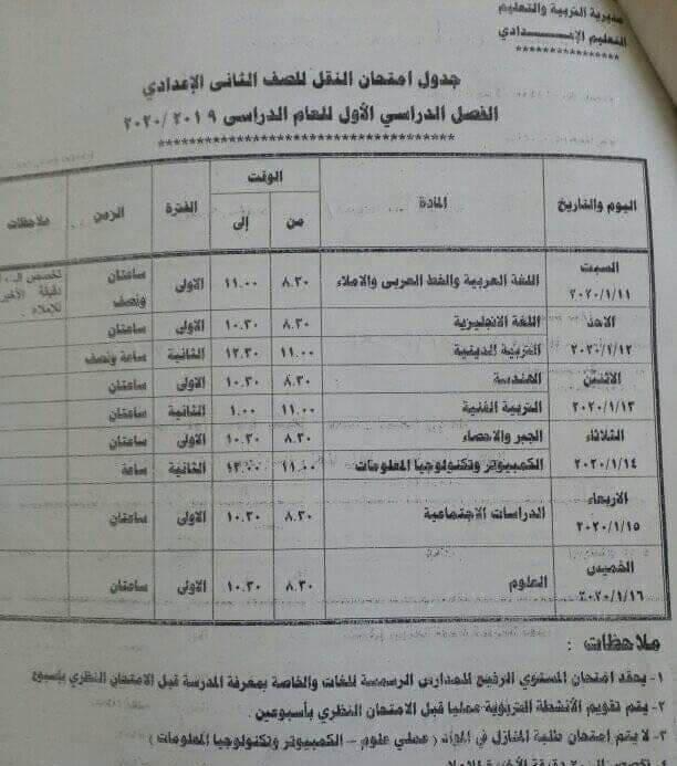 جدول امتحانات الصف الثاني الاعدادي نصف العام محافظة جنوب سيناء 2020