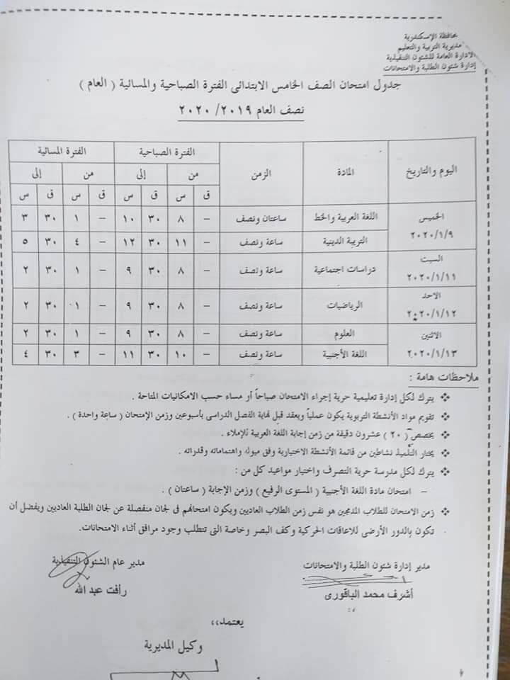 جدول امتحانات الصف الخامس الابتدائي نصف العام محافظة الاسكندرية 2020