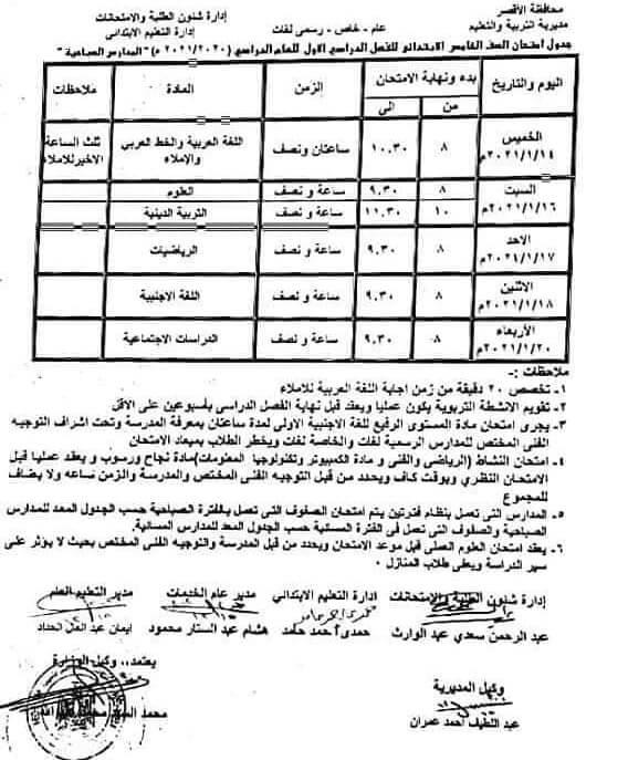 جدول امتحانات الصف الخامس الابتدائي نصف العام محافظة الاقصر 2021