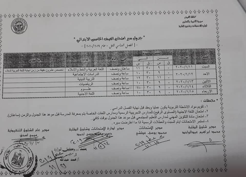 جدول امتحانات الصف الخامس الابتدائي نصف العام محافظة الفيوم 2020