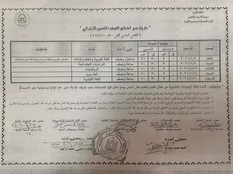 جدول امتحانات الصف الخامس الابتدائي نصف العام محافظة الفيوم 2021