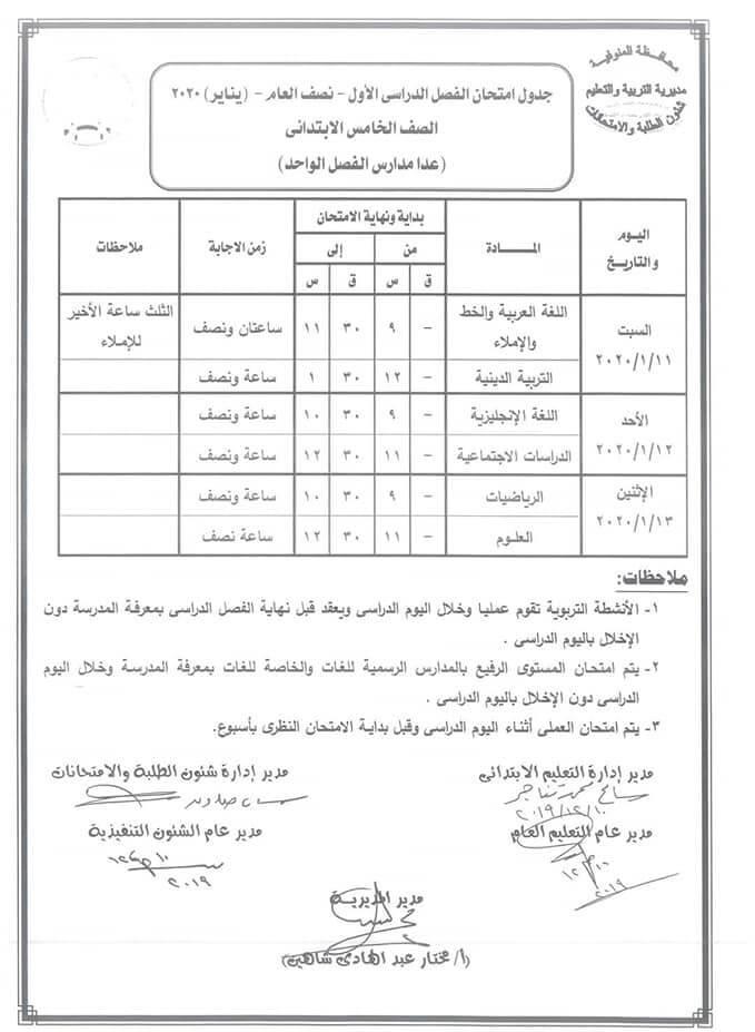 جدول امتحانات الصف الخامس الابتدائي نصف العام محافظة المنوفية 2020
