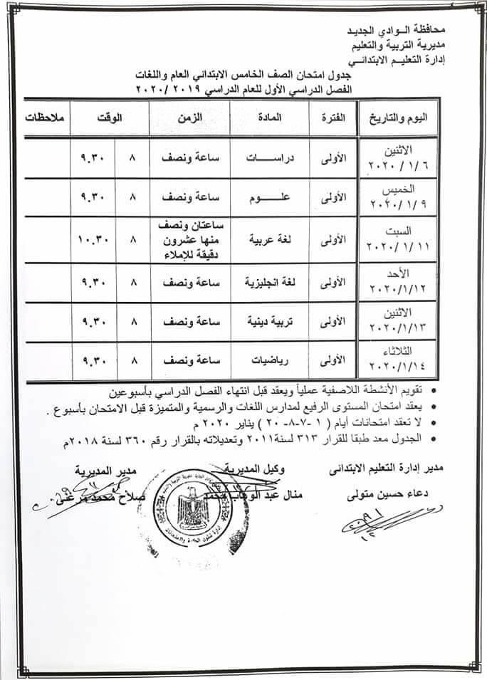 جدول امتحانات الصف الخامس الابتدائي نصف العام محافظة الوادي الجديد 2020