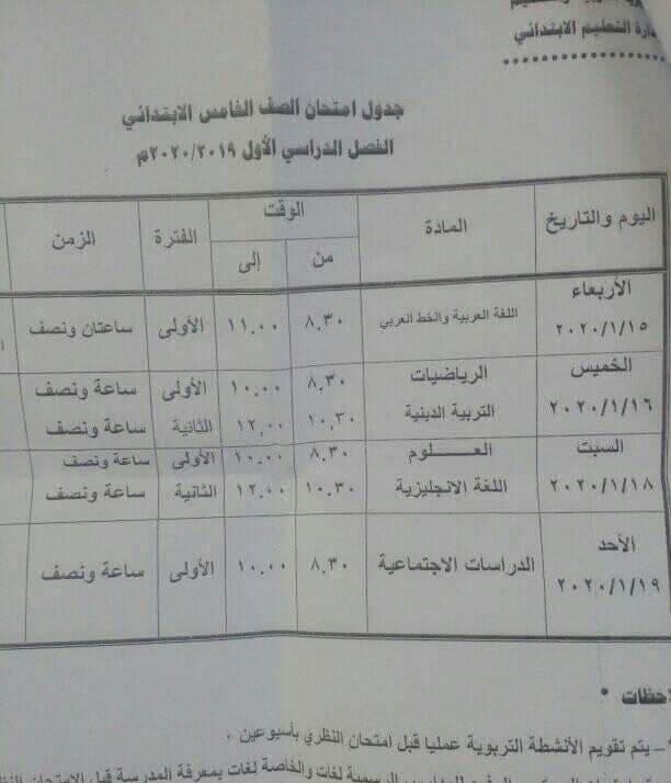 جدول امتحانات الصف الخامس الابتدائي نصف العام محافظة جنوب سيناء 2020
