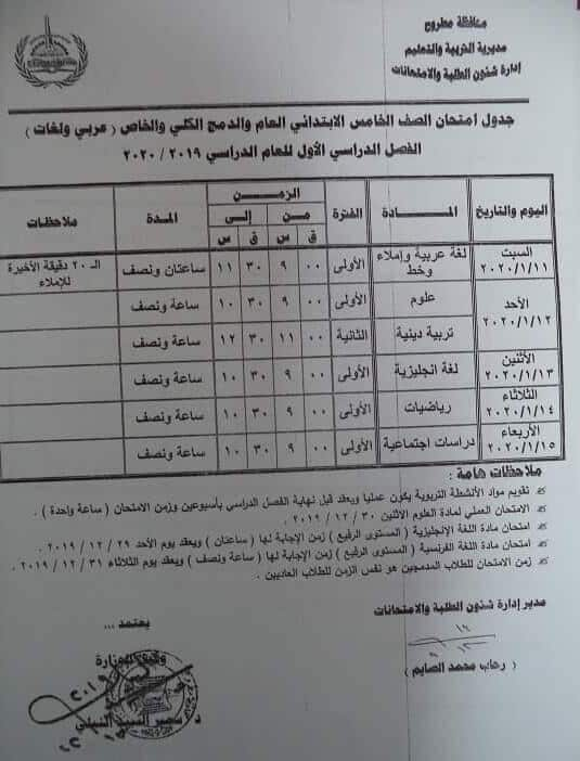 جدول امتحانات الصف الخامس الابتدائي نصف العام محافظة مطروح 2020