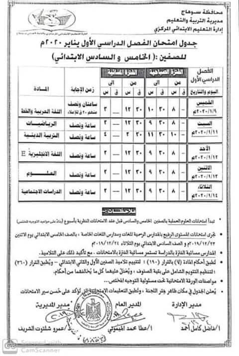 جدول امتحانات الصف الخامس والسادس الابتدائي نصف العام محافظة سوهاج 2020