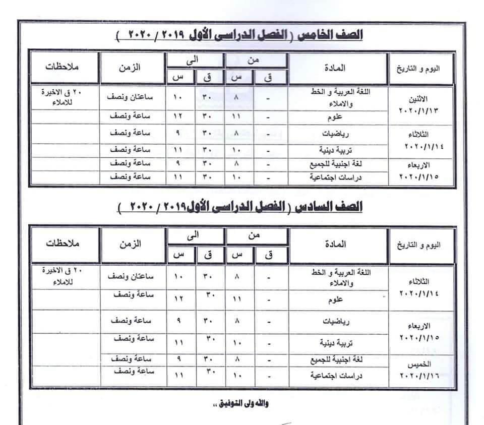جدول امتحانات الصف الخامس والسادس الابتدائي نصف العام محافظة كفر الشيخ 2020