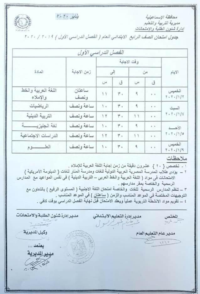 جدول امتحانات الصف الرابع الابتدائي نصف العام محافظة الاسماعيلية 2020