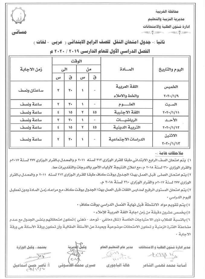جدول امتحانات الصف الرابع الابتدائي نصف العام محافظة الغربية 2020 2