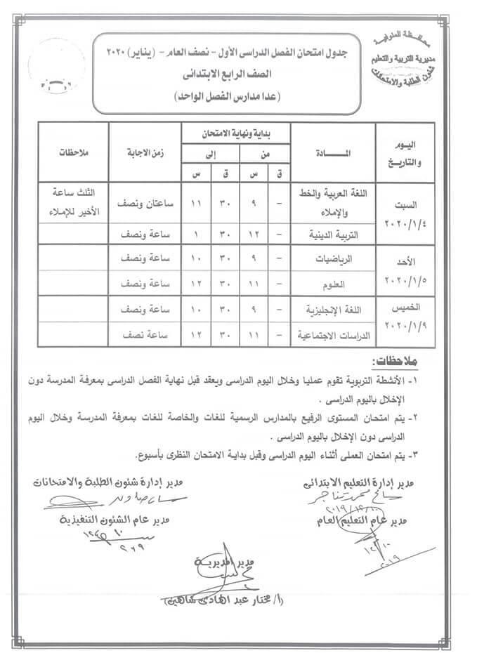 جدول امتحانات الصف الرابع الابتدائي نصف العام محافظة المنوفية 2020