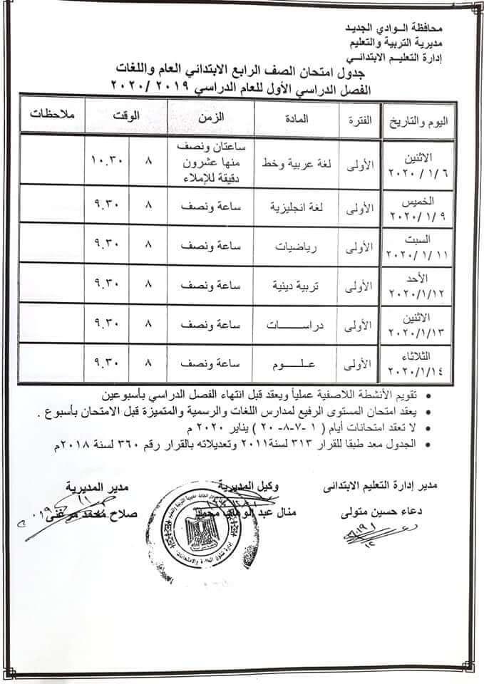 جدول امتحانات الصف الرابع الابتدائي نصف العام محافظة الوادي الجديد 2020