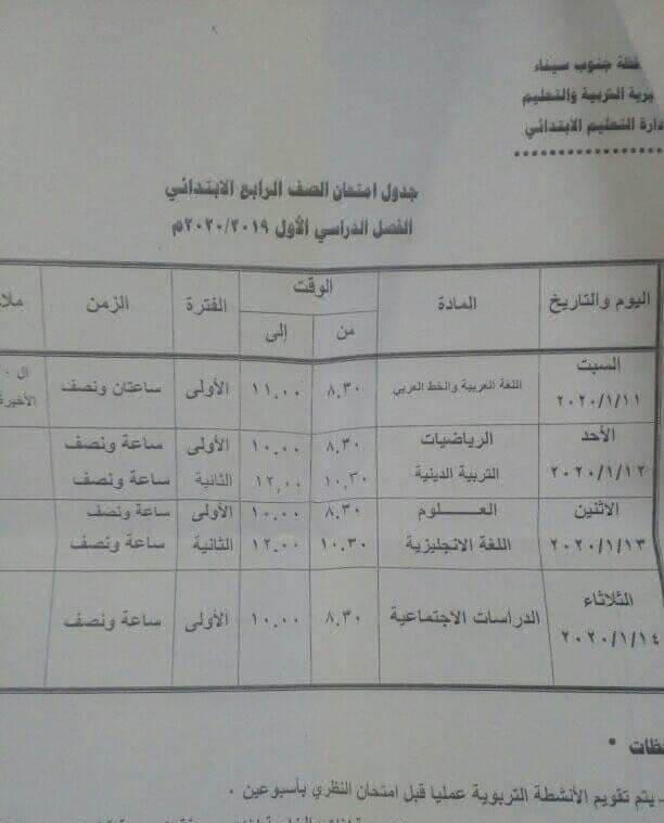 جدول امتحانات الصف الرابع الابتدائي نصف العام محافظة جنوب سيناء 2020