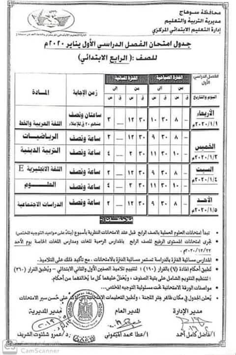جدول امتحانات الصف الرابع الابتدائي نصف العام محافظة سوهاج 2020