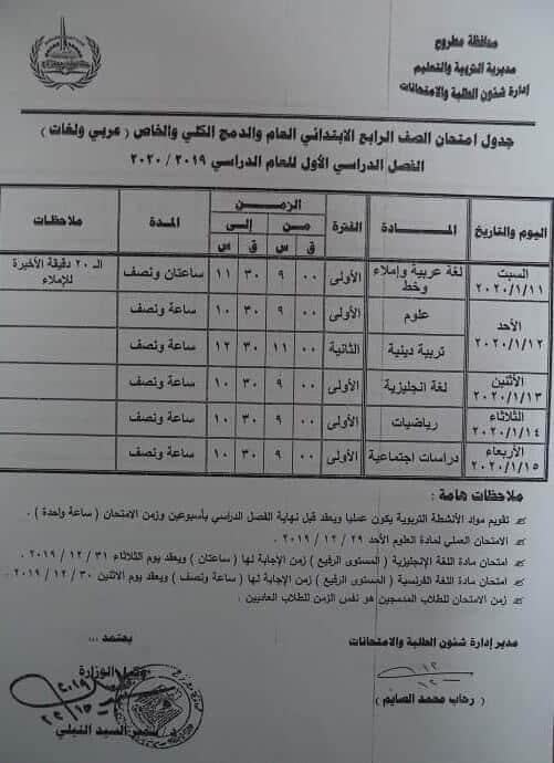 جدول امتحانات الصف الرابع الابتدائي نصف العام محافظة مطروح 2020