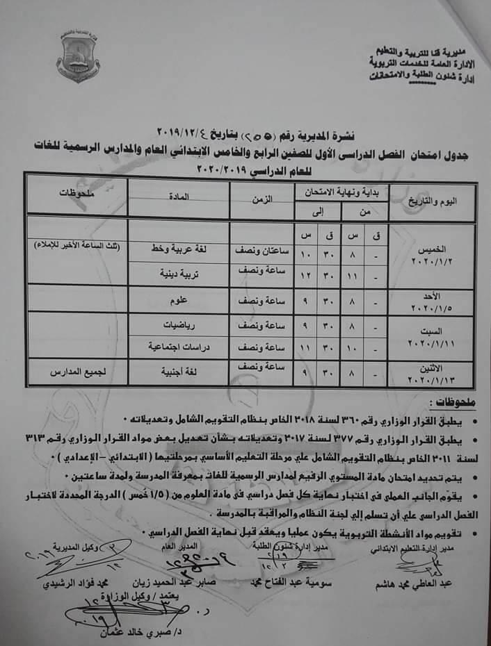 جدول امتحانات الصف الرابع والخامس الابتدائي نصف العام محافظة قنا 2020