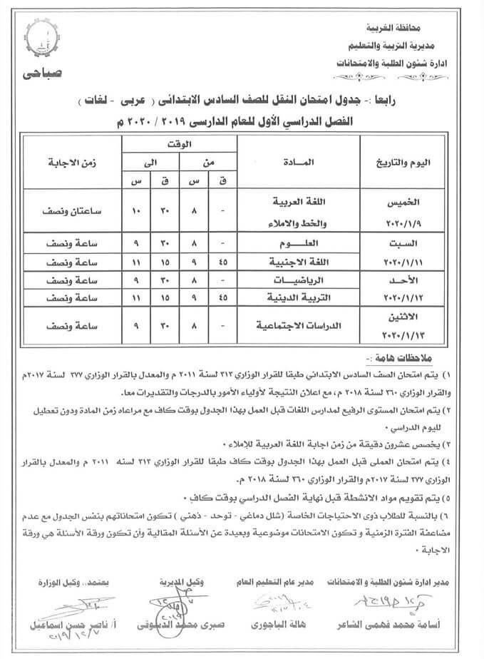 جدول امتحانات الصف السادس الابتدائي نصف العام محافظة الغربية 2020 1