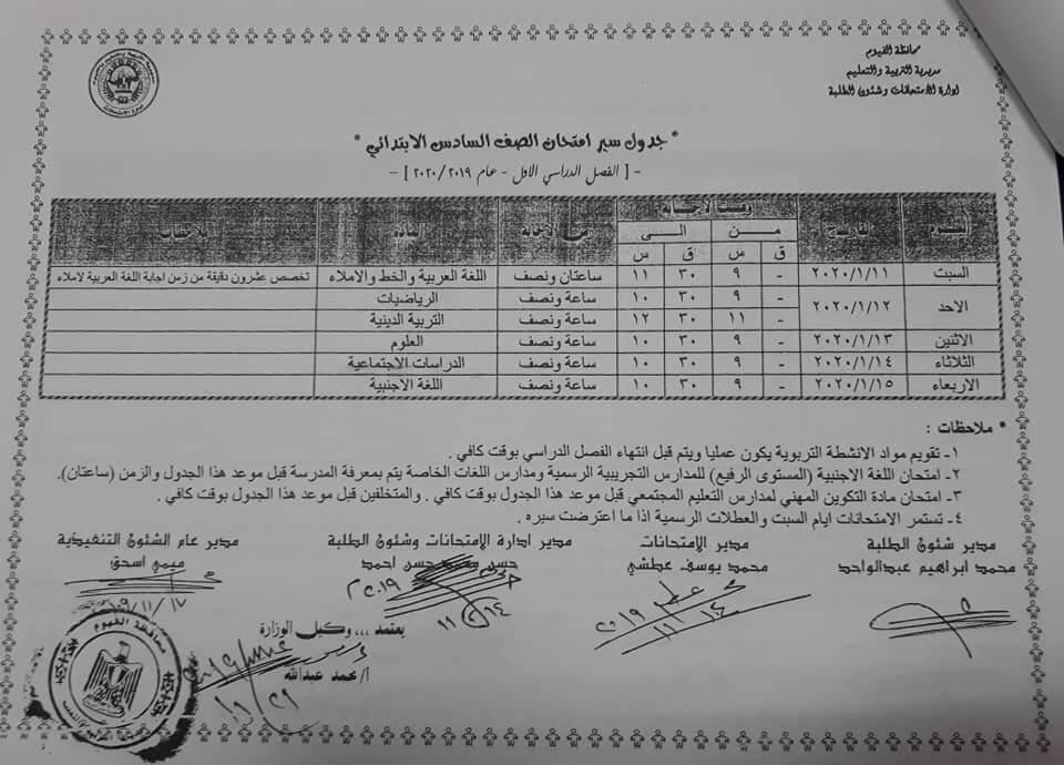 جدول امتحانات الصف السادس الابتدائي نصف العام محافظة الفيوم 2020