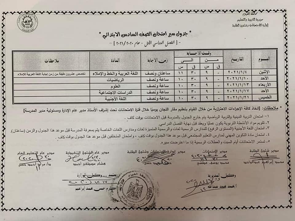 جدول امتحانات الصف السادس الابتدائي نصف العام محافظة الفيوم 2021