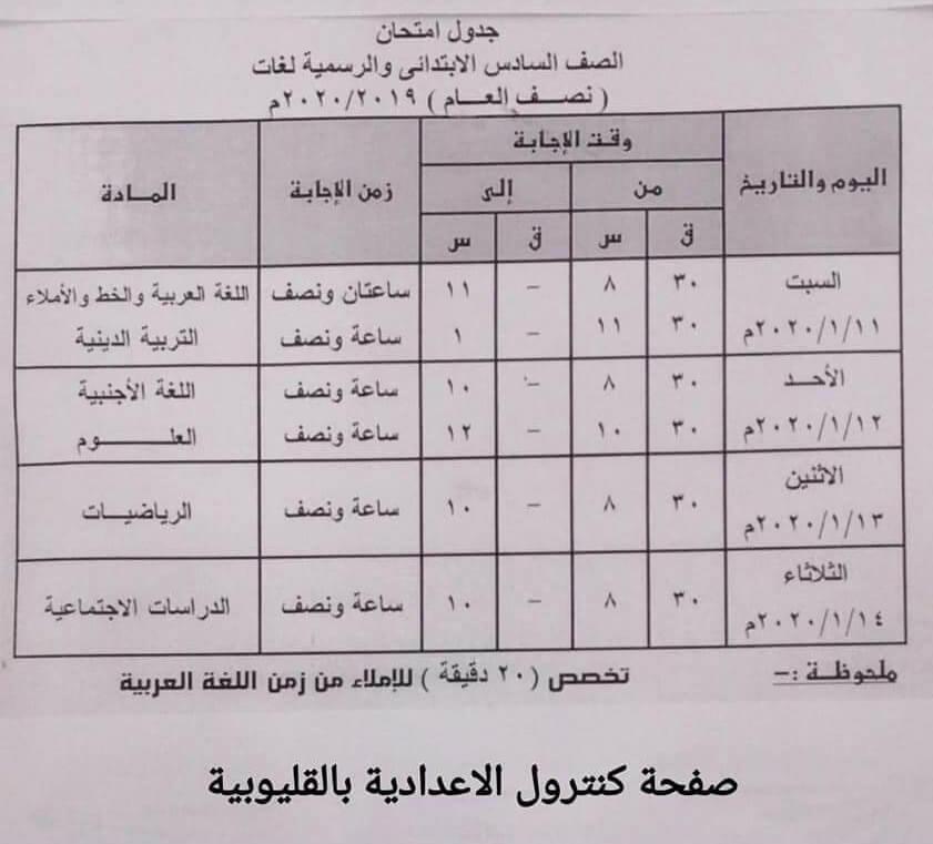 جدول امتحانات الصف السادس الابتدائي نصف العام محافظة القليوبية 2020
