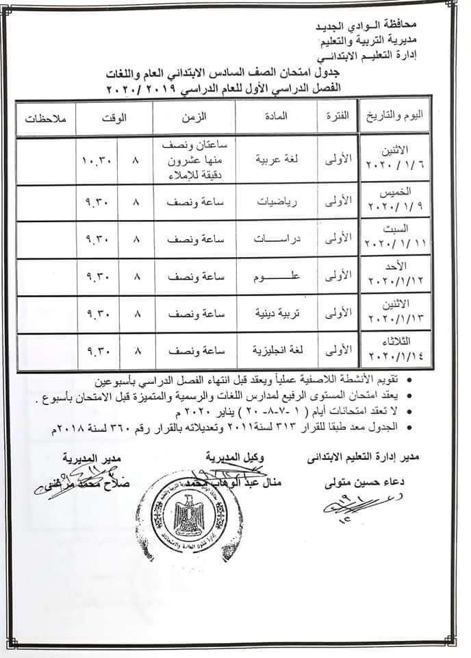 جدول امتحانات الصف السادس الابتدائي نصف العام محافظة الوادي الجديد 2020
