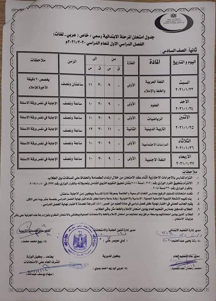 جدول امتحانات الصف السادس الابتدائي نصف العام محافظة بني سويف 2021