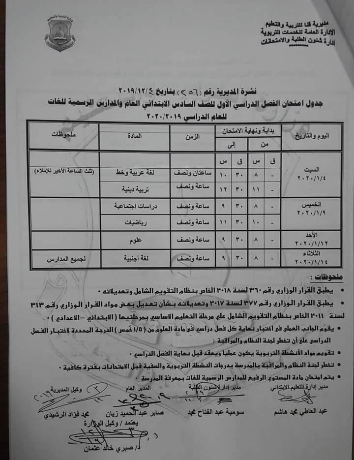 جدول امتحانات الصف السادس الابتدائي نصف العام محافظة قنا 2020